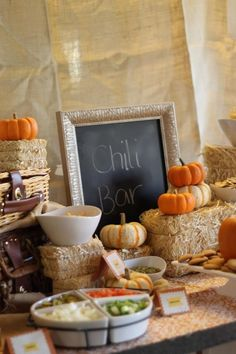 Fall themed party with a chili bar! Guests bring a topping and you supply the chili!