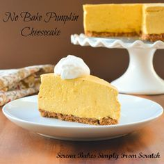 No Bake Pumpkin Cheesecake with Toasted Pecan Graham Cracker Crust | Serena Bakes Simply From Scratch