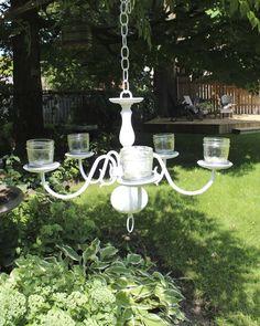 romanc, mason jar lighting, chandeliers, outdoor, lighting ideas, garden idea, mason jars, garden chandeli, diy