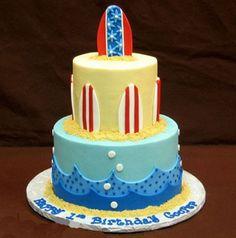 Cute cake for a beach party theme