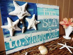 Fun artwork for the family room   From Sea To Shining Sea Nautical Starfish Beach by MeetMeByeTheSea, $58.00