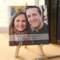 Two Hearts, One Love Personalized Photo Canvas Print