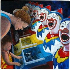 """Mother and the Clowns by Linden Lancaster -  """"This quilt is based upon a photo I took at our local country town's New Year's  Eve Carnival."""" Posted at Latitude Quilts"""