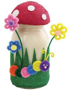 Nicole™ Crafts Mushroom Jar #kids #craft #masonjar