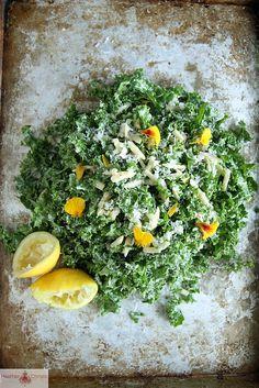 Kale Salad with Lemon, Almond and Pecorino