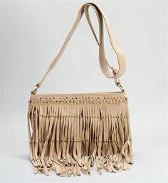 Tan Studded Fringe Shoulder Bag