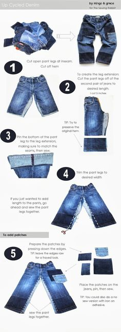 How to extend the life of your jeans, in a fun and trendy way! This denim DIY will have you cutting up old jeans in no time, and taking those pants out of the recycle pile for another years use.
