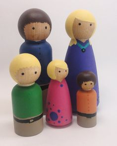 Wood doll house family  set of 5  custom families by BusyBeingMe, $32.00