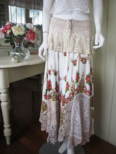 Romantic Gypsy Style Full Circle Skirt Roses Lace Upcycled