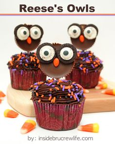 Reese's Owls - a cupcake topper I would actually eat! http://www.insidebrucrewlife.com
