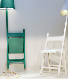 Erik De Nijs and Tim Smit — who are Nieuwe Heren — presented a few new pieces at Dutch Design Week 2010 in Eindhoven, one of which was a series of folding chairs designed for reading called The Poets. #chair, #lamps