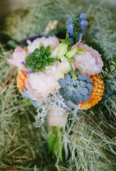 succulents and vibrant wildflowers bouquet