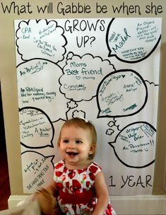 LOVE this birthday party idea!  Sign with speech bubbles asking what your little one will be when they grow up.  Everyone at the party writes in their guess!