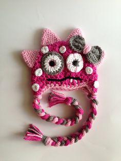 Crochet Pink Monster Hat/ Halloween/Photo Prop/ Girl/ Polka Dots
