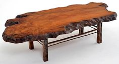 Redwood Coffee Table with Forged Base Design #1 - Item #CT03110 - Custom Sizes Available