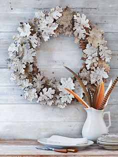 """birch-bark """"leaf"""" wreath diy"""