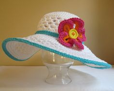CROCHET PATTERN - Aloha - a wide brimmed sun hat with flower in 4 sizes (Child - Adult L). $5.50, via Etsy.