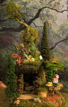 Fairy House, Woodland Village Coffee, Miniature House, Fairies, Fairy Houses, Woodland. $48.00, via Etsy. fairi hous, fairi garden, dream homes, cottage gardens, gnome, fairy houses, miniature furniture, fairy homes, miniature houses