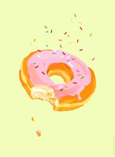 Delightful Donut by Kali on #INPRNT - #Illustration #print #poster #art #kitchen #food #retro #vintage #baking