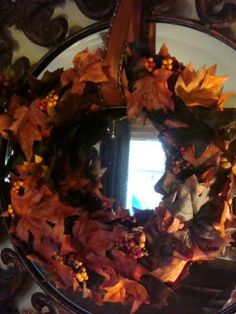 Thrifty Decor Chick: A DIY fall wreath. (like the wreath in front of the mirror)