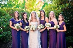Deep, dark purple bridesmaid dresses