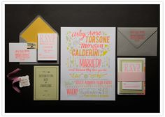 I love all the color used in this suite, paired with a classy Dark Grey envelope.
