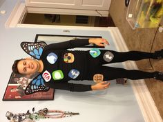 Social butterfly. Easy Halloween costume idea. Cut out felt patches that look like social networking apps. Wear all black and a cheap pair of bitterly wings.  @Julie Forrest Forrest Shipp don't wear a creepy body suit, but a good idea! #halloweenideas