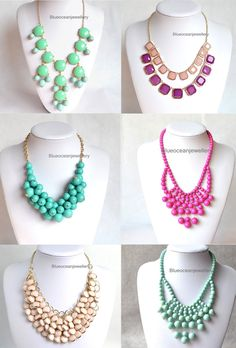 Hot pink and one Teal - chunky necklaces for my all in black outfits