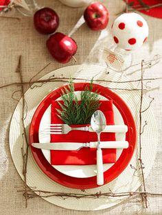 Arrange artfully - 50 Easy Holiday Decorating Ideas christmas meals, christmas tables, decorating ideas, holiday decorating, table runners, napkin, christmas table settings, holiday tables, place mats