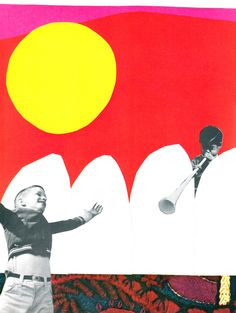 Cut paper and photo collage from Fields and Fences, 1968. Illus by Micaela Myers.