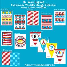 DR SEUSS Inspired Birthday Party - Coordinating Dr Seuss Printables - Customized Printable Package