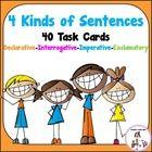 4 Kinds of Sentences Task Cards use the sentences: Declarative, Interrogative, Imperative, and Exclamatory. (40 Task Cards to identify the 4 Kinds of Sentences) $