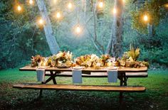 table settings, summer picnic, wedding receptions, dream, picnic tables, company picnic, dinner parties, forest wedding, reception tables