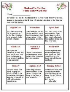 Words Their Way Activity Choices for Students