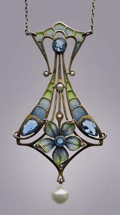 Jugendstil pendant, ca. 1900; plique-jour enamel, silver gilt, aquamarines  pearls