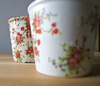 Napkin decorated Flower Pots