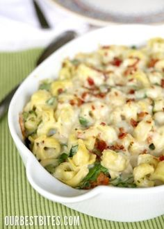 Tortellini spinach bake- this would a good meal to take to friends