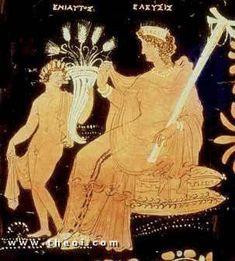 Eleusinian Demeter & Plutus, Apulian red-figure  loutrophoros C4th B.C., The J. Paul Getty Museum