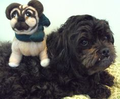 Needle felted Dog Quimby the Pug on Etsy