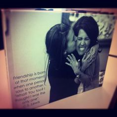 Make a canvas for every bridesmaid with your favorite pictures or picture on it with a quote. Love love love this idea
