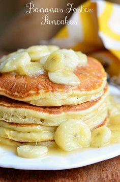 Bananas Foster Pancakes cook, food, breakfast, banana foster pancakes, drink, delici, eat, brunch, bananasfost