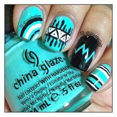 Bright aqua mixup (stripes, aztec, etc) nail art design