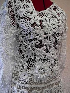 'swan' dress - Irish crochet techniques, by Russian crochet designer Olgemini, via Flickr