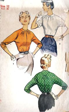 1950s Blouse Pattern PinUp Style Rockabilly