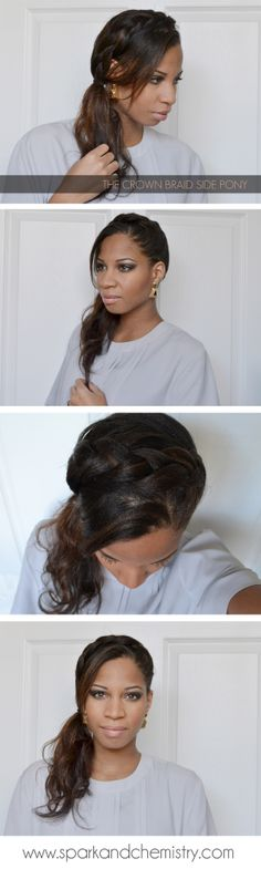 How to do the crown braid side pony.  Party hairstyles from Spark and Chemistry blog.