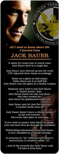 """Jack Bauer 24 Keifer Sutherland 'life' Huge 10"""" Magnet."""