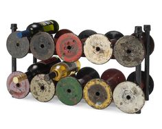 Reclaimed Textile Spool Wine Rack $275