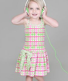 Take a look at this Pink Floral Plaid Bow Dress - Infant, Toddler & Girls by Saru on #zulily today!