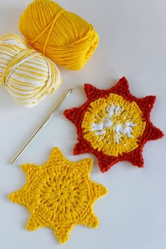 Stitch up these fun Crochet Sun Coasters to add a little summer flare to your party