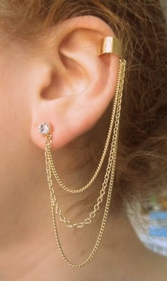 Earring with chain, I'm in love with these.